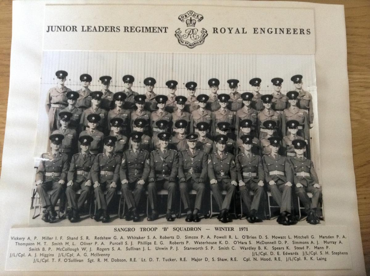 Sangro Troop B Squadron. Junior Leaders Regiment Royal Engineers Winter 1971